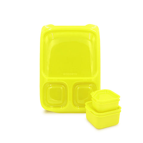 Goodbyn Hero Lunchbox + 2 Leakproof Dippers - Neon Yellow. ARRIVING 28 JAN. PRE-ORDER NOW!