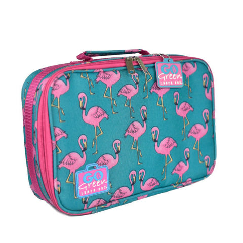 Go Green Lunch Set - Flamingo. (Lunchbox + insulated bag + drink bottle + ice pack.) 2 Colour Options.