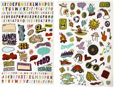 Goodbyn - Dishwasher Safe Lunchbox Stickers (over 150!) - Groovy Vibes. HURRY - LAST SET!