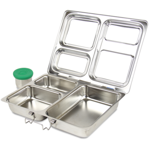 PlanetBox LAUNCH Stainless Steel Bento Lunchbox - No Magnets (3 Large Compartments)