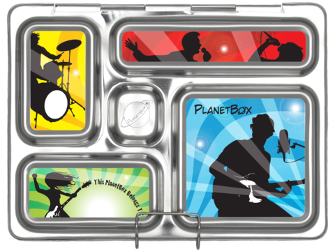 PlanetBox ROVER Stainless Steel Bento Lunchbox - Rock Star (5 Compartments)