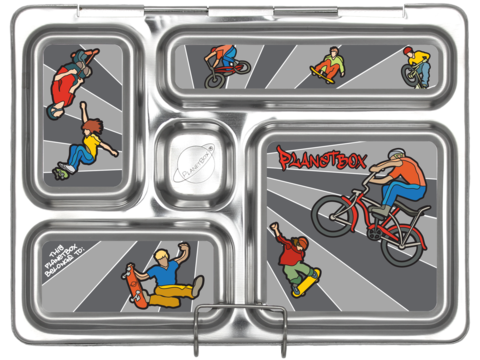 PlanetBox ROVER Stainless Steel Bento Lunchbox - Wheelies (5 Compartments)
