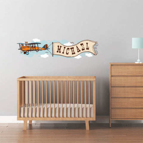 Personalized plane name nursery wall sticker decal