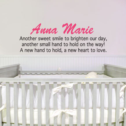 Custom nursery wall sticker decal new hand to hold blingding philippines