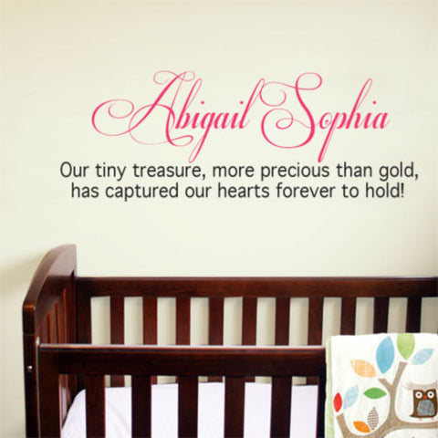 Customized tiny treasure nursery wall sticker decal