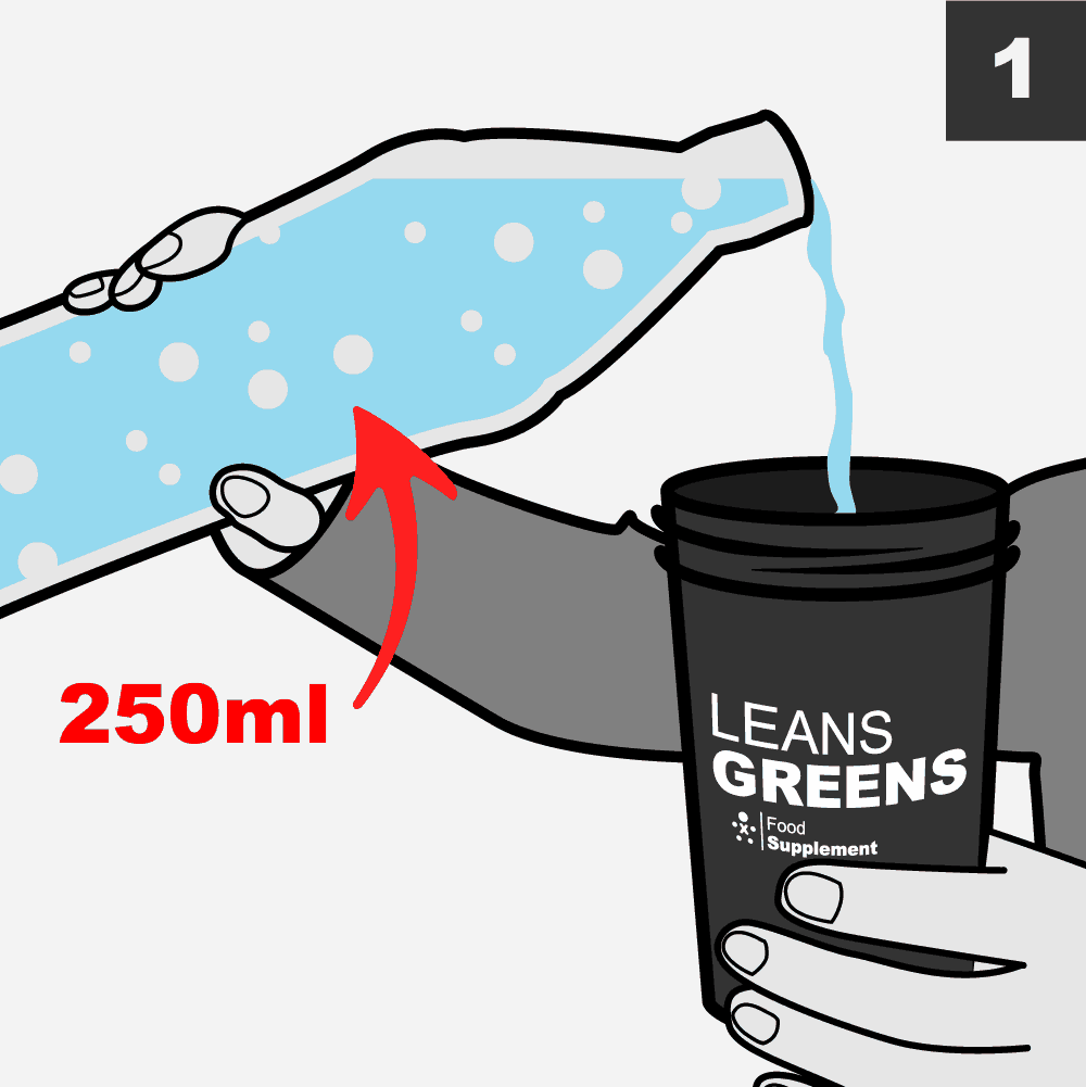 How much water to mix with a Super Greens #UpgradeYourNutrition #LeanGreens #SuperGreens