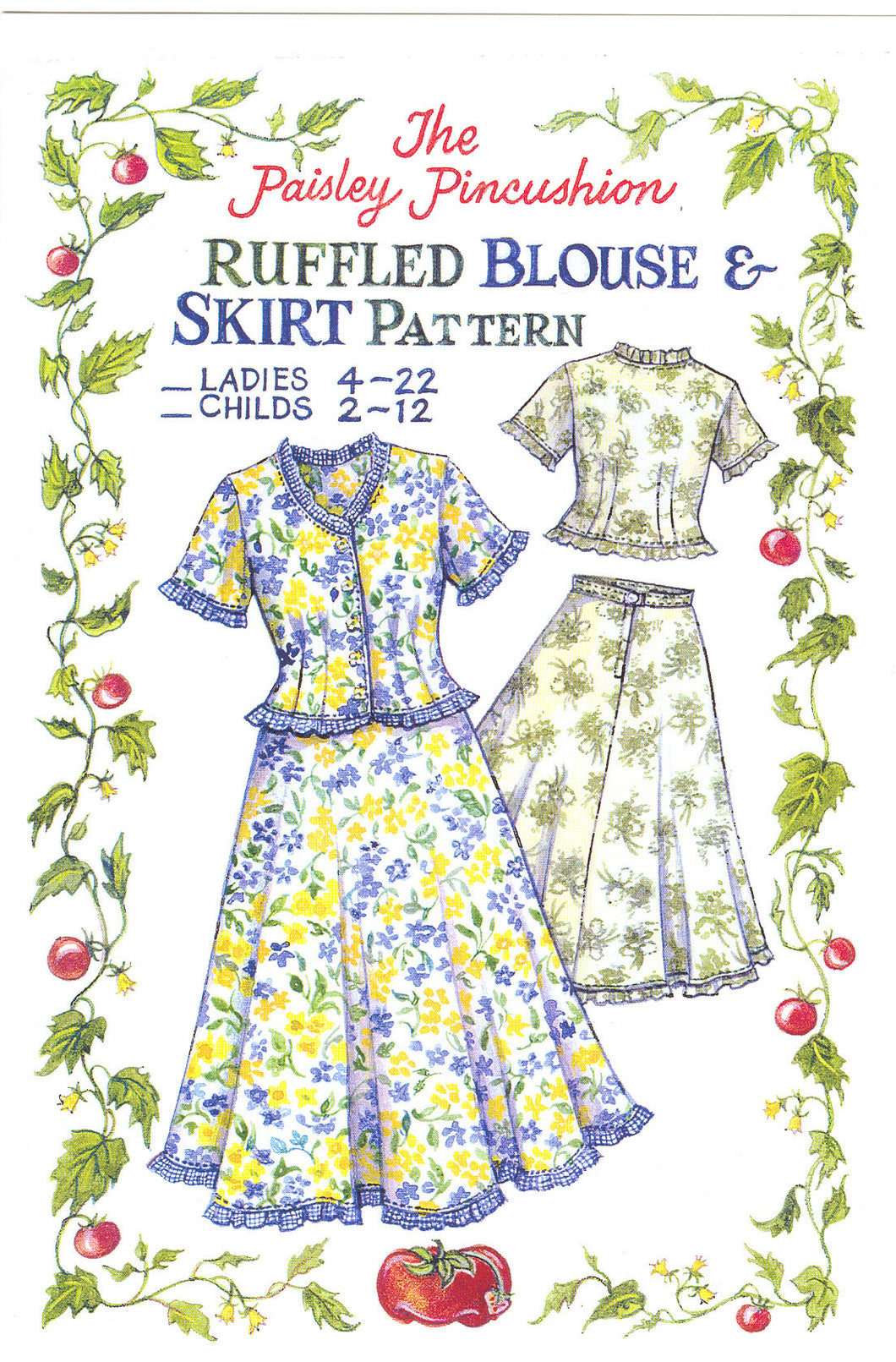 Ruffled Blouse and Skirt Pattern Child's sizes 2~12