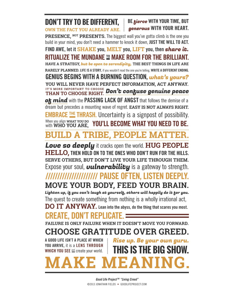 Good Life Project Creed Poster