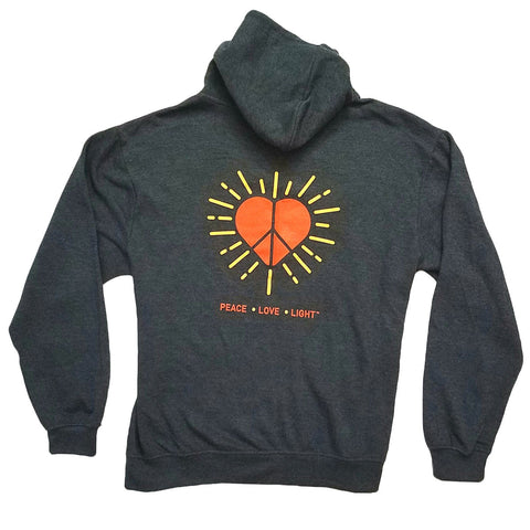 Hoodie -Peace Love Light - Dark Grey