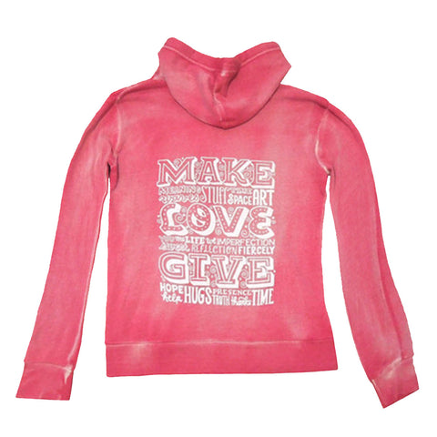 Hoodie - Make Love Give - Fitted/Distressed Red