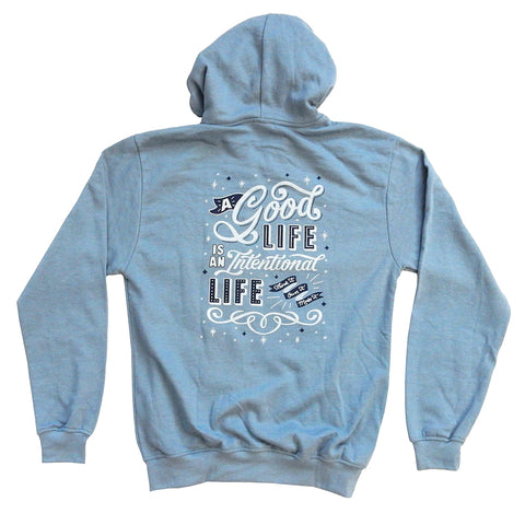 Hoodie - Intentional Life - Denim Blue