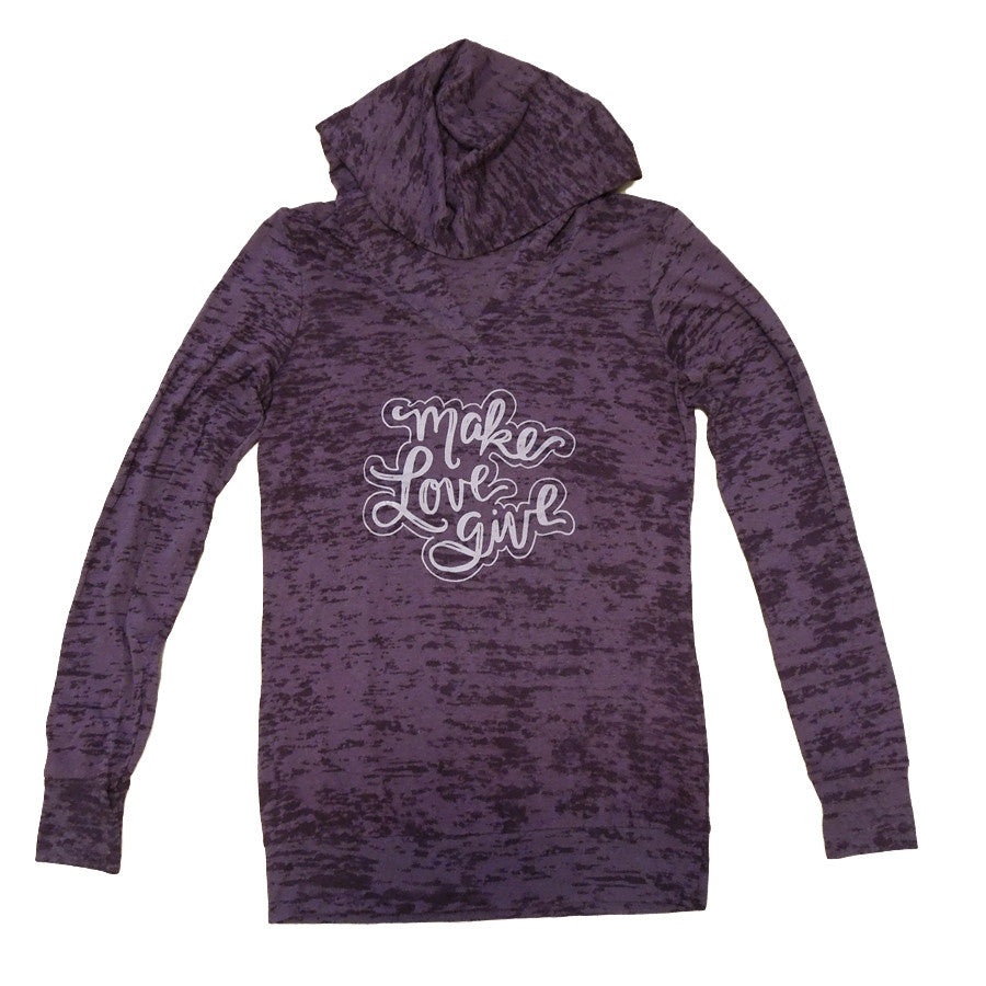 Make, Love, Give Burnout Hoodie - Women's/Plum