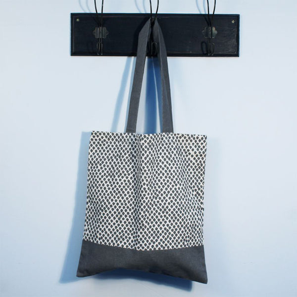 'Grey Dot' Cotton Tote Bag