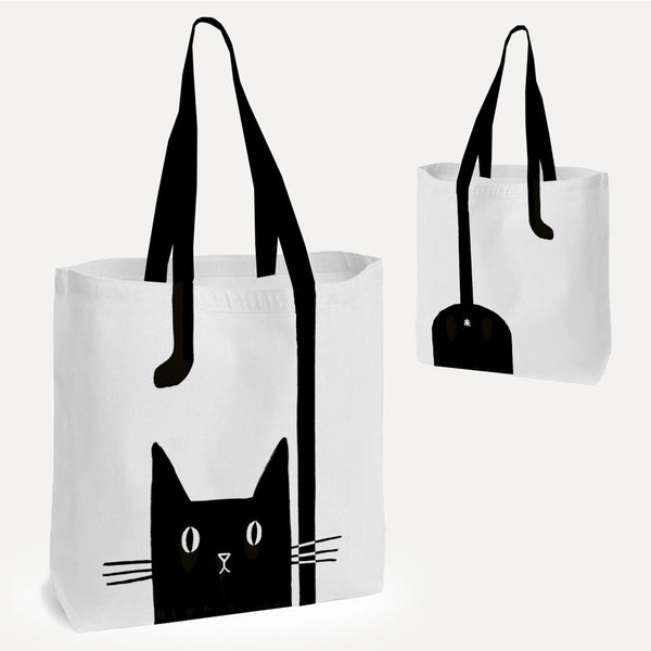 Black/White 'Alley Cat' Tote Shopper Bag *NEW*