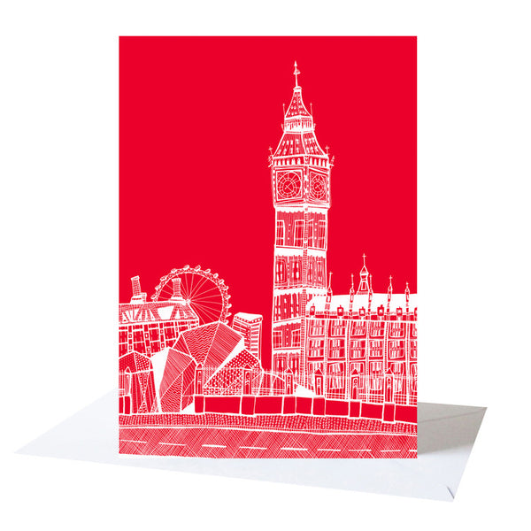 'Big Ben' Red/White Greetings Card *Made in the UK*