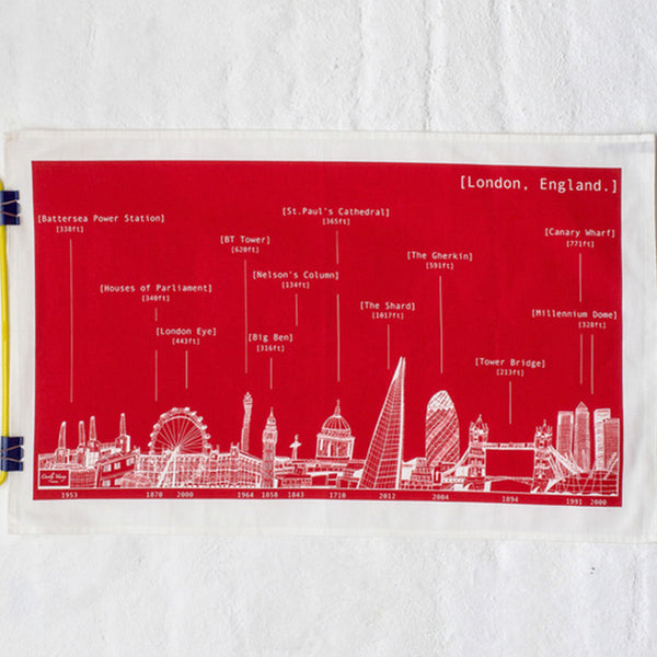 'London Skyline' Tea Towel Red/White *Made in the UK*