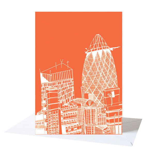 'The Gherkin' London Orange/White Greetings Card *Made in the UK*