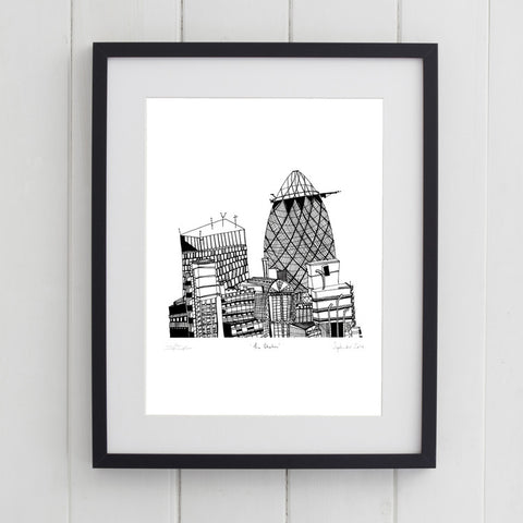 'The Gherkin' Art Print - Signed by Cecily Vessey 2014