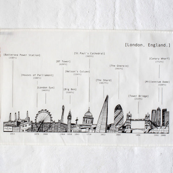 'London Skyline' Tea Towel Black/White *Made in the UK*
