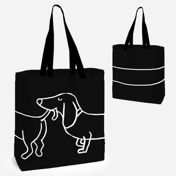 Black/White 'Dachshund Dog' Tote Shopper Bag *NEW*