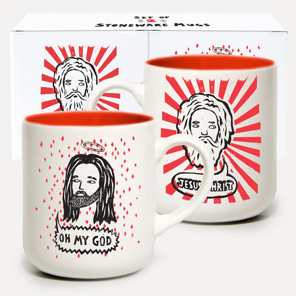 'Jesus Christ. Oh My God' Mugs Set of 2