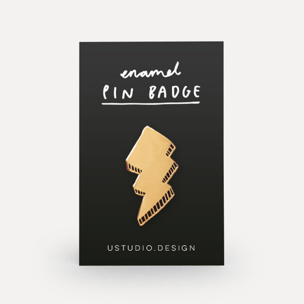 'LIGHTNING BOLT' Enamel Pin Badge *NEW*