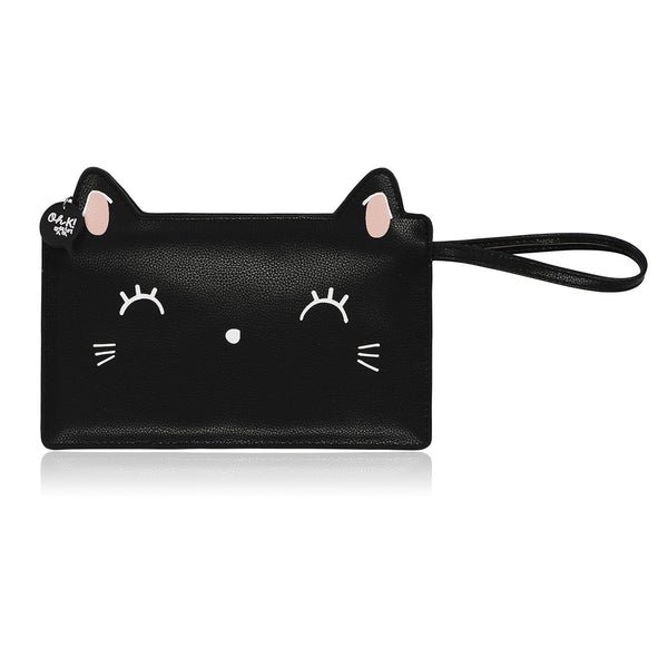 Oh K! Kitty Cat Black Clutch/Make Up Bag