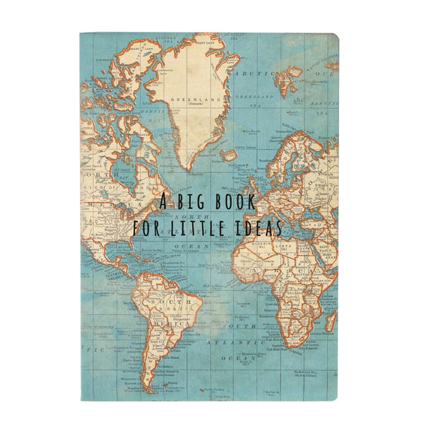 Vintage Map A5 Notebook 'A Big Book For Little Ideas' *NEW*