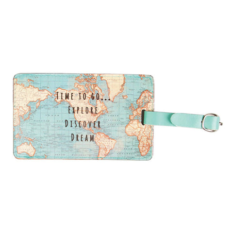 Vintage Map 'Time To Go' Luggage Tag