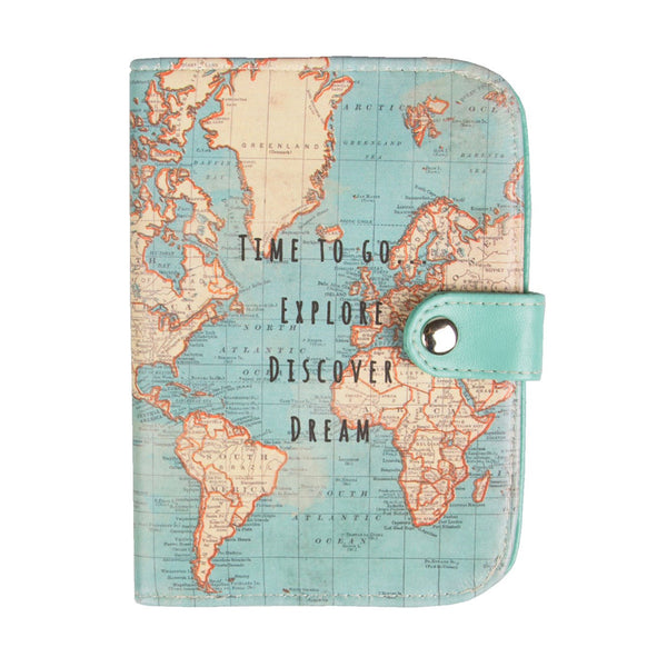 Vintage Map 'Time To Go' Passport Holder *NEW*