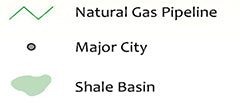 LNG Natural Gas Pipelines Major City Shale Basin
