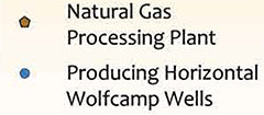 Permian Basin Natural Gas Processing Plants and Horizontal Wolfcamp Wells Map