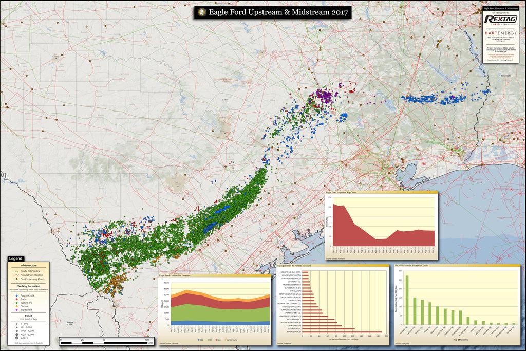Eagle Ford map upstream and midstream drilling