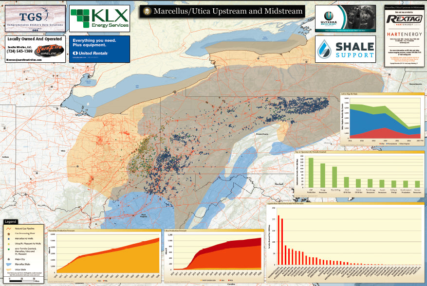 Marcellus, Utica, Appalachian and Point Pleasant upstream and midstream drilling map