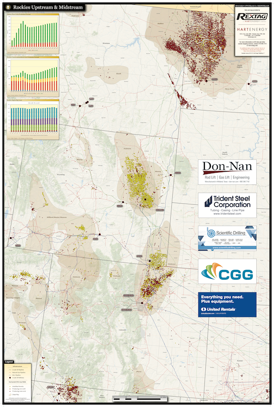 Rockies oil and gas upstream midstream map, Niobrarra, Bakken, mountain states