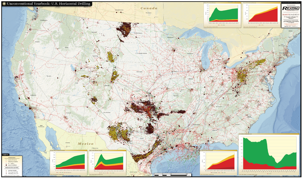 Unconventional oil and gas map, horizontal drilling
