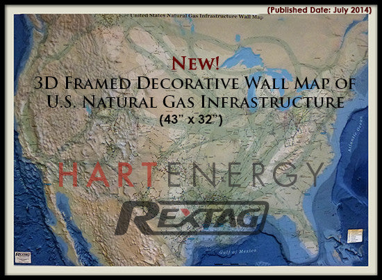 3D Wall Map of U.S. Natural Gas Infrastructure - Framed