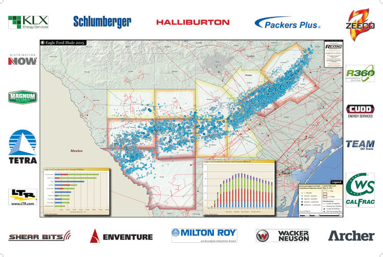 Eagle Ford Shale Map, Acreage, Production & Wells