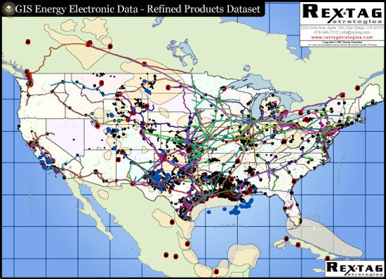 Refined Petroleum Products Digital GIS Data - North America