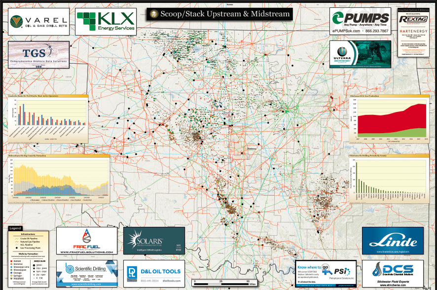 Scoop Stack Map highlights fields, drilling activity and wells in North America