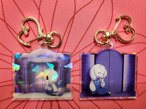 "2"" Double Sided Holographic Behind Closed Doors Sans + Toriel Undertale Keychain"
