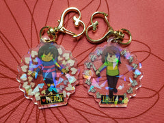 "2"" Double Sided Holographic Frisk Chara Keychains"