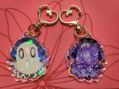 "2"" Double Sided Holographic Muffet and Napstablook Undertale Keychain"