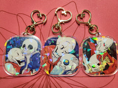 "2"" Double Sided Holographic Best Bros Forever Undertale AU Keychains"