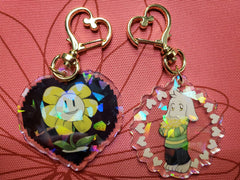 "2"" Double Sided Holographic Flowey Asriel Keychains"