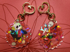 "2"" Double Sided Holographic UnderFell AU Keychains"