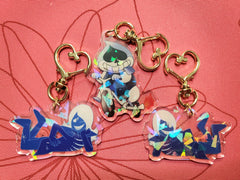 "2"" Double Sided Holographic Rouxls Kaard Lancer Deltarune Keychains"
