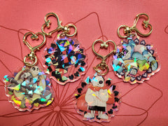 "2"" Double Sided Holographic Crayon Queen and Ink Sans AU Keychains"