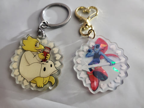 "2"" Double Sided Holographic Alphys Undyne Undertale Keychains"