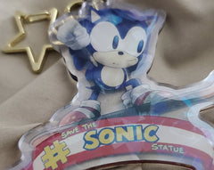 "2.5"" Mysterious Sonic Statue Doubleside Holo Acrylic Keychain"